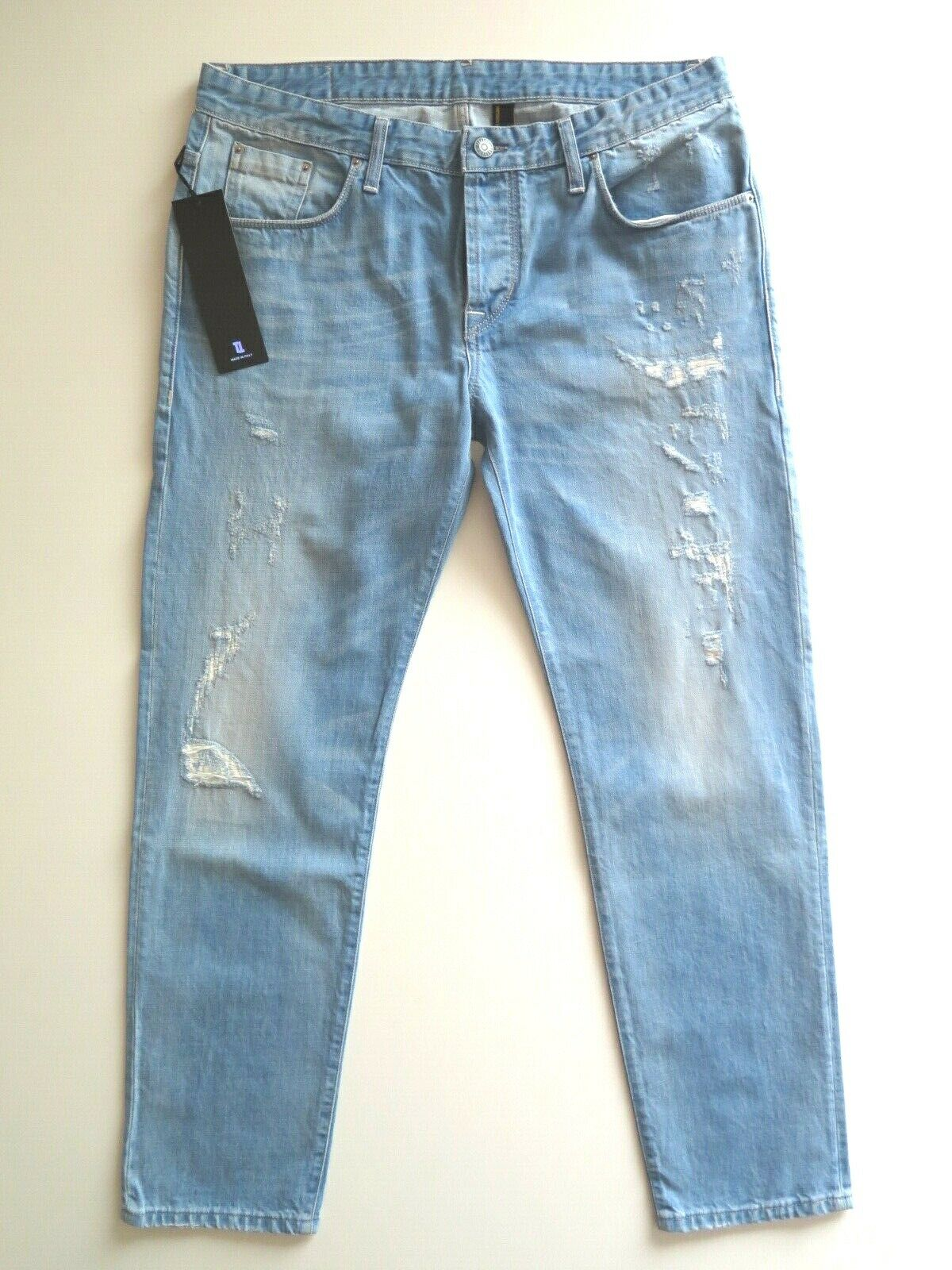 TAKESHY KUpinkWA Men's Designer Distressed Tapered Jeans Made in  NEW