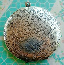 NWT Catherine Popesco Large Round Flower Vintage Silver Locket Mother's Day