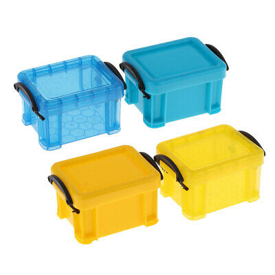 4Pcs Mini Storage Box Containers for BJD Doll 1//6 Dollhouse Yellow /& Blue