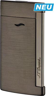 NEW ST Dupont Slim 7 Flat Flame Torch Jet Lighter Brushed Gunmetal 027712