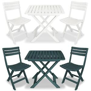 Vidaxl Garden Bistro Set 3 Piece Plastic Folding Table And Chairs