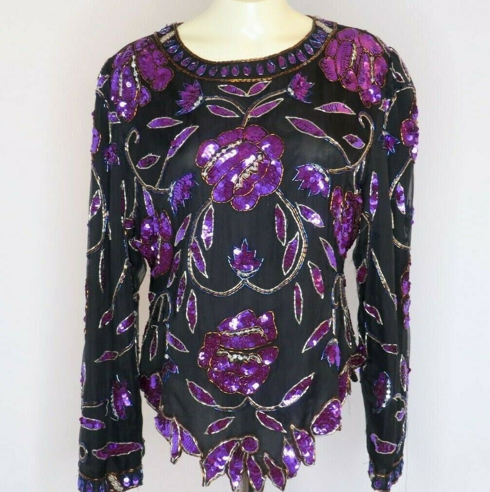 Laurence Kazar L schwarz Blouse Rosa Beaded Evening Formal Silk SEQUIN Floral VTG