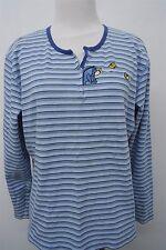 Disney Winnie The Pooh Eeyore blue henley knit sweater top sz XL womens #6113