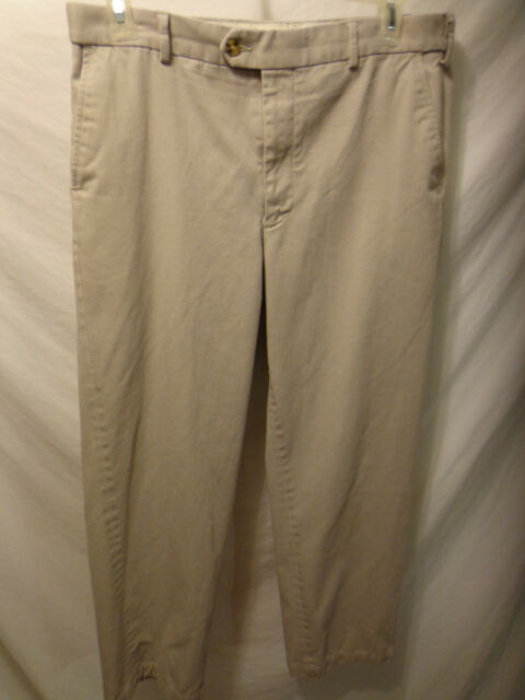 Men's Saddlebred Flat Front Beige Casual Pants 34x30 Cotton Blend