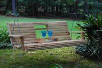 Home Outdoor Indoor Garden Cypress Lumber Roll Back Porch Swing Flip Cup Holder