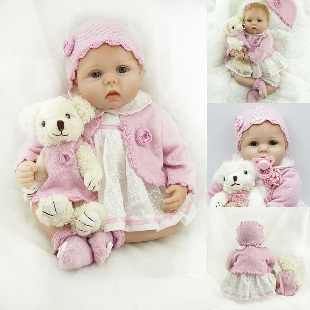 "22"" Reborn Baby Dolls Vinyl Soft Silicone Newborn Girl Doll Realistic Gifts Toy"