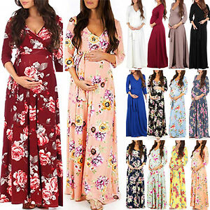 710637834bd264 Pregnant Women's Maternity Maxi Long Gown Wrap Dress Photography ...