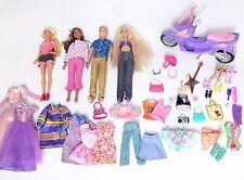 Mattel Barbie Dolls Bundle Clothes Accessories Scooter Ken Doll