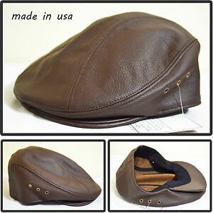 ee071b1741d Image is loading GENUINE-LEATHER-SNAP-BRIM-NEWSBOY-ASCOT-IVY-DRIVING-