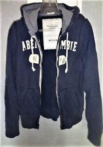Details zu Abercrombie & Fitch Hoodie Sweatjacke mit Kapuze used look Sz M