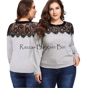 New-Ladies-Grey-Top-With-Lace-Size-12-0XL-1199-PN