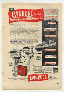 Vintage-1950-EVINRUDE-Fleetwin-amp-Fastwin-OUTBOARD-MOTOR-Full-Page-Ad-Boating-Fun