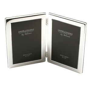 New Silver Twin 4x6 Photo Frame Double Picture Hinged Frames