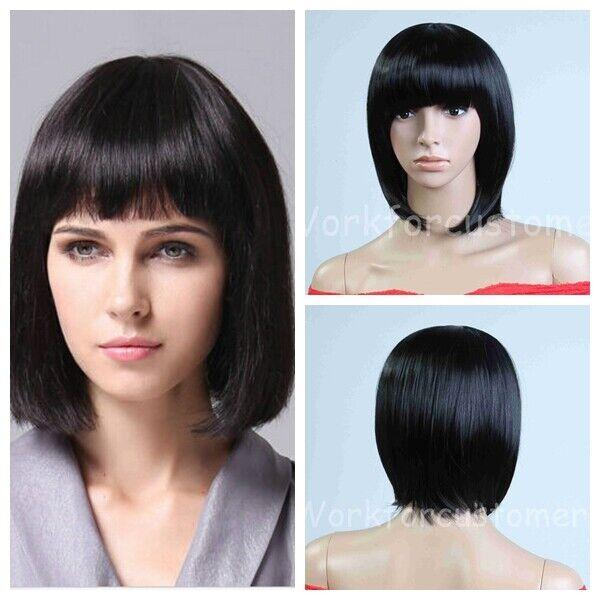 Black Short Wigs Bob Straight Wigs Heat Resistant