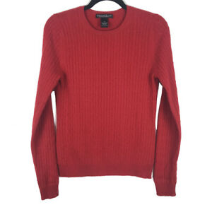 Marina-Luna-100-Cashmere-Red-Cable-Knit-Crew-neck-Sweater-Size-Medium