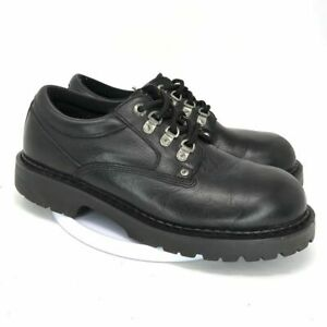 gbx mens black leather oxford casual shoes size 11 lace up