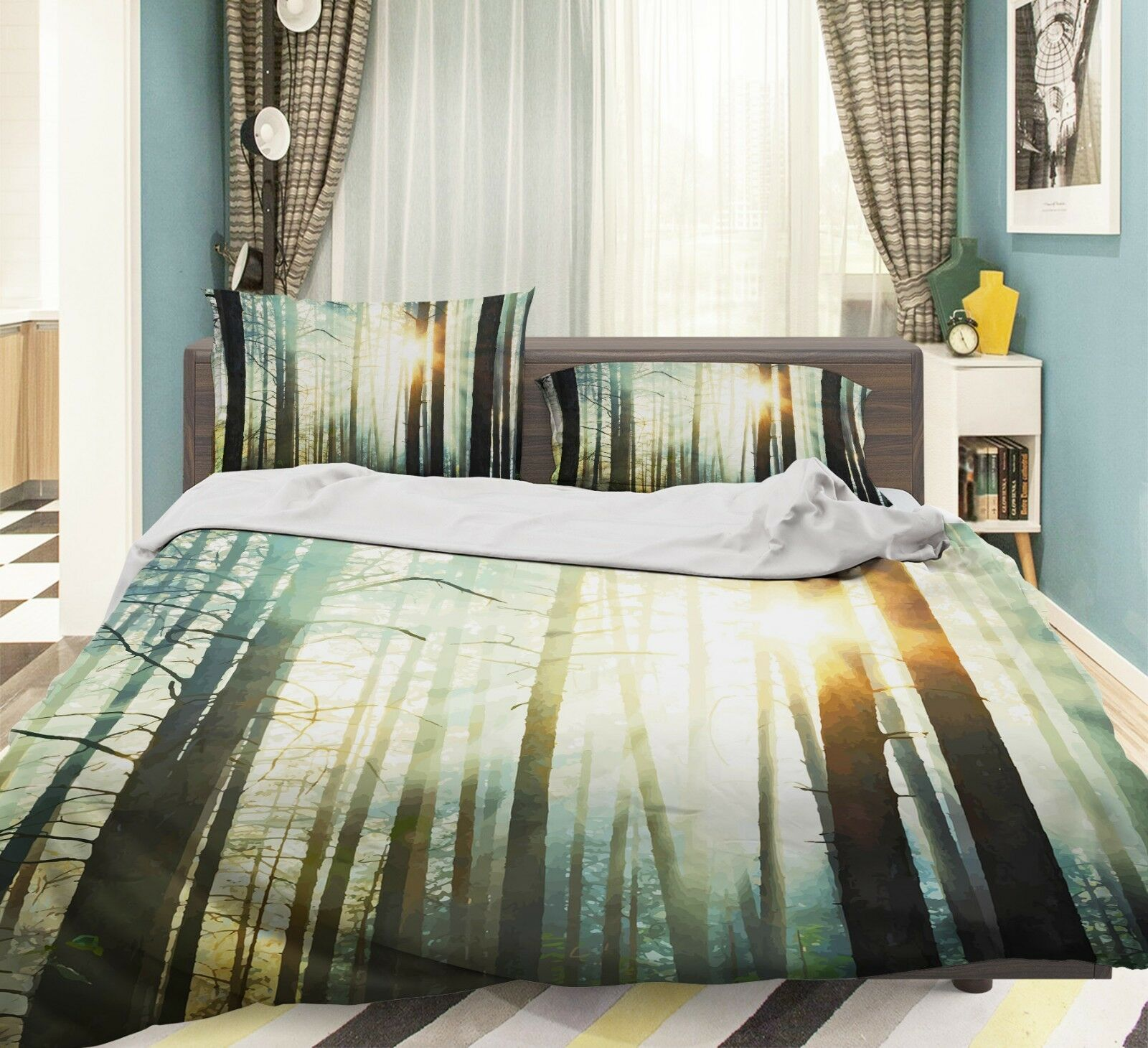3D Sonnenlicht Nebel Wald 5 Bett Kissenbezüge steppen Duvet Decken Set Single DE