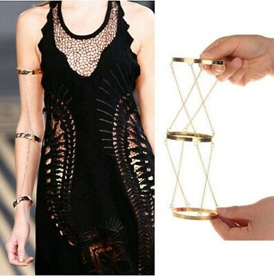 JLM's New Fashion Jewelry Gold Chains Armlet Upper Top Arm 3 Bangles Bracelets