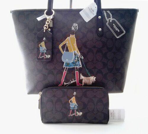 Wallet Negro Bonnie Coach Ed Charm Nwt Marrón Cashin Signature Bag Tote 3pc Ltd wH0BqxH