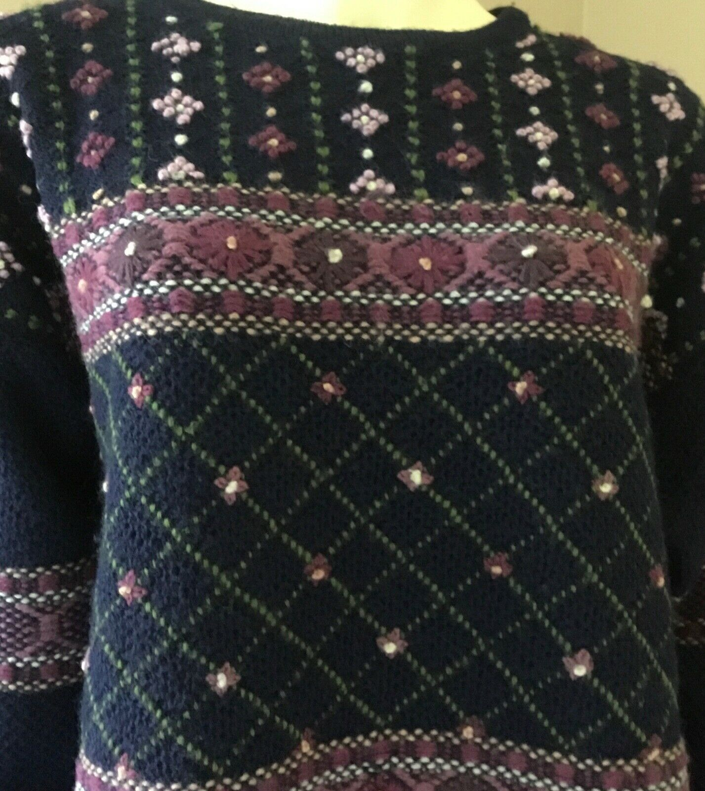 Vintage Laura Ashley 90s Floral 100% Wool Embroid… - image 3
