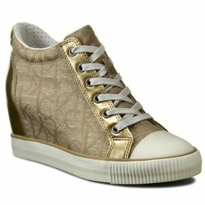 SCARPE-SNEAKERS-DONNA-CALVIN-KLEIN-JEANS-RAMONA-RE9686-GOLD-ORIGINALE-PE-NEW
