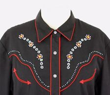 SCULLY Western Shirt Black Red Piping Turquoise Beading Flower Snaps Womens L/XL
