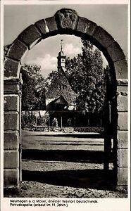 Neumagen-Mosel-alte-Ansichtskarte-1953-datiert-Durchblick-zur-Petrus-Kapelle