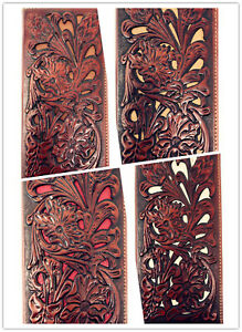 Western-Genuine-Leather-Floral-Tooled-Laser-Cut-Mens-Long-Bifold-Wallet