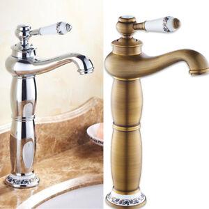 Détails sur Robinet lavabo rétro en haut Mitigeur vasque Salle de bain  laiton Or / argent