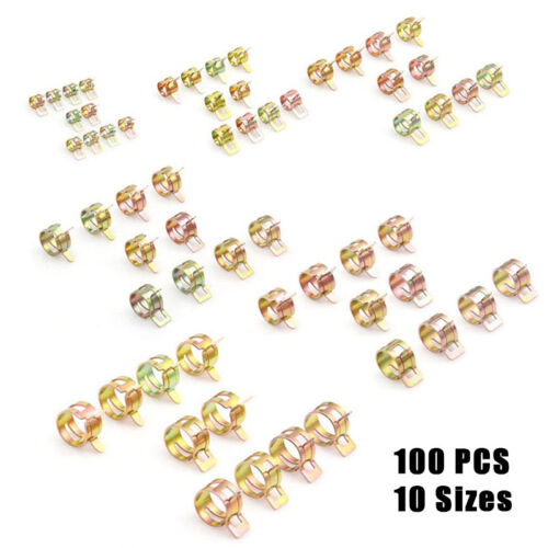100PCS Spring Clip Water Pipe Fuel Hose Air Tube Clamp Fastener 6-22mm 10 Sizes