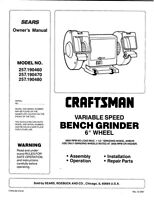 1987-1988 Craftsman 257.190460/190470/190480 6-inch Variable Bench Grinders