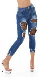 Jeans High Waist Ladies Skinny 7/8 Jeans Denim Pants Used Look with Net