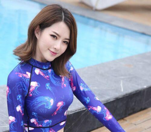 Rash Guard Womens Crop Top Long Sleeve Swimwear UV Protection Surfing Shirt