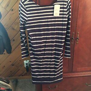 Soft-Surroundings-Bridgeport-Cotton-Stretch-Dress-Navy-Blue-Gray-Stripe-Sz-PS