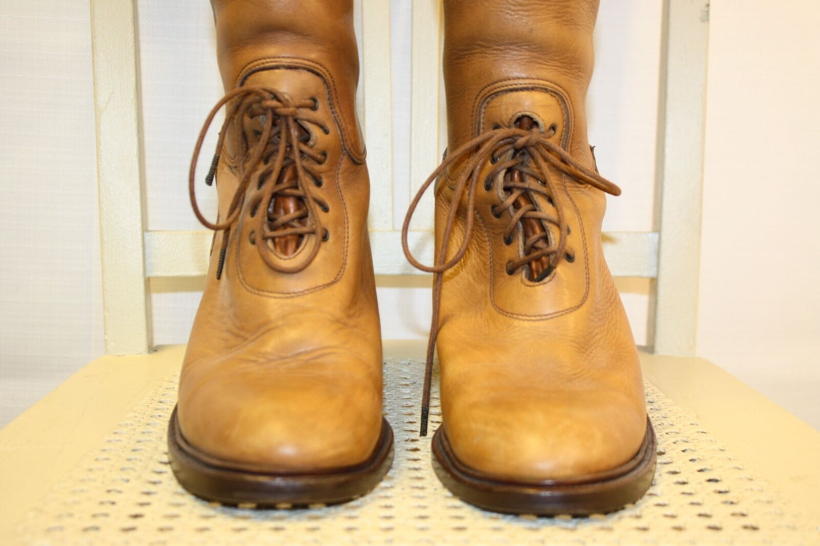 RALPH LAUREN LAUREN LAUREN Collection Leather Lace-Up Equestrian Riding Field Stiefel 7.5B ITALY 1003ca