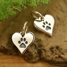 925 Sterling Silver Tiny Dog Paw Print Animal Lover Heart Charm Pendant 1627