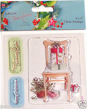 Papermania At Christmas clear rubber stamp set of 3    Chair presents holly love