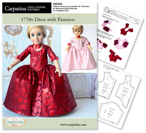 "Outlander Claire Red Dress Sew Pattern for 18/"" Carpatina /& American Girl Dolls"