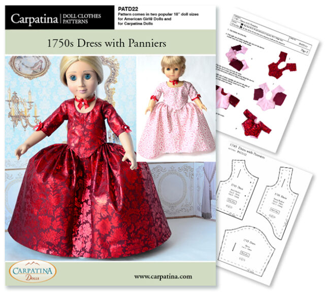 Outlander Claire Red Dress Sew Pattern For 40 Carpatina American Inspiration American Girl Patterns