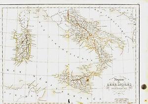 Carte de l'ITALIE DU SUD- Deux Siciles & Sardaigne -1836- 34 x 49 cm. Delamarche Mt0cI0UV-09091620-783286757