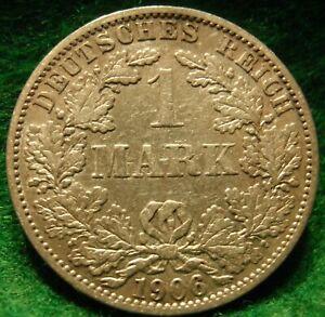 Scarce-Germany-Empire-SILVER-1-Mark-1906-A-AU-BU-KM-14-Silver-Very-High-Grade