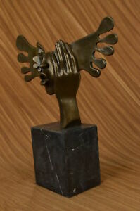 Signed-Dali-Abstract-Female-Sunshine-Bronze-Sculpture-Marble-Base-Figure-Decor