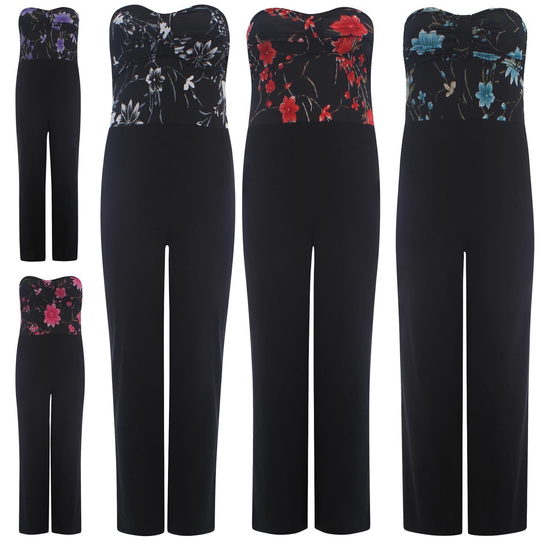 New Ladies Curve Floral Print Jumpsuit Dress Strapless Boob Dress