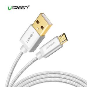 Cable-Micro-USB-carga-rapida-reforzado-nylon-UGREEN-plata-metalizado-1M-2M
