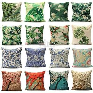 Classical-Floral-Tropical-Plant-Leaf-Cushion-Covers-Waist-Pillow-Case-Home-Decor