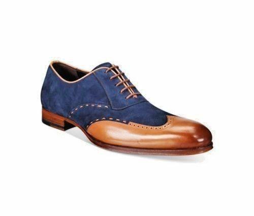 Homme Formel Chaussures Handmade deux tons en cuir beige daim bleu   Richelieu À démarrage nouveau