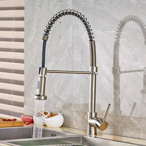 Image Is Loading Brushed Nickel Kitchen Faucet Swivel Spout Pull Down