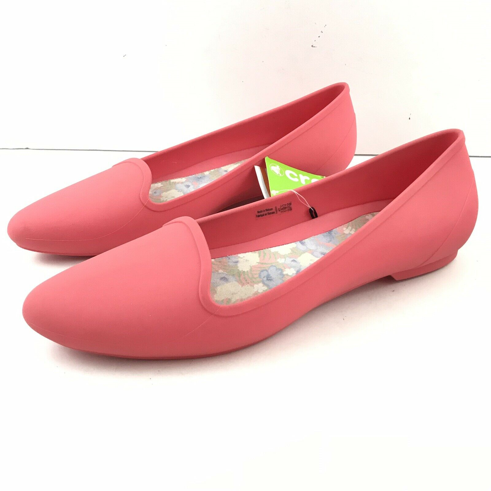 Crocs Women 11 Eve Flat Coral Slip On Loafer Almond Toe Comfort Casual New