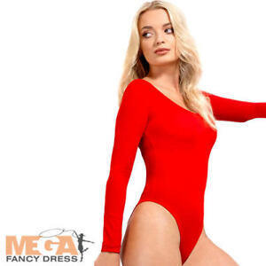 f128fe486e Red Opaque Bodysuit Ladies Fancy Dress 1980s Leotard Womens Adults ...