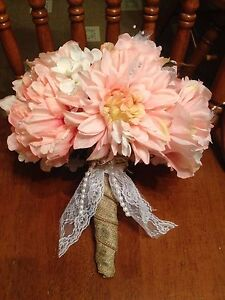 Bridal - Wedding Bouquet Pink Peony / Dahlia / Roses With Burlap Wrapped Stem